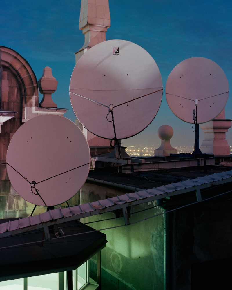 Satellite dishes at the 32nd floor roof, Palace Of Culture And Sciecne, Warsaw, Poland., 2014